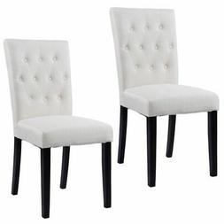 Set of 2 Armless Fabric Dining Chairs Simple but Elegant Des