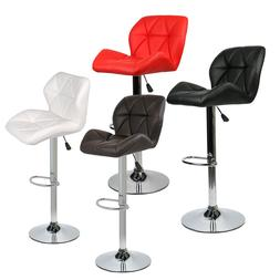 Set of 2 Bar Stools Leather Adjustable Swivel Dining Chair B