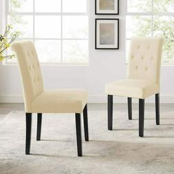 Set Of 2 Dining Chairs Fabric Tufted Upholstered Design Arml