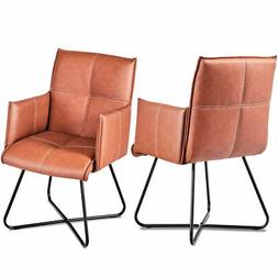 Set of 2 Dining Chairs PU Leather Padded Seat Leisure Accent