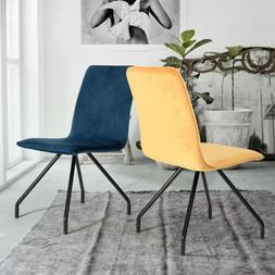 Set of 2 Dining Chairs Yellow/Red/Blue Soft Velvet Seat Cush