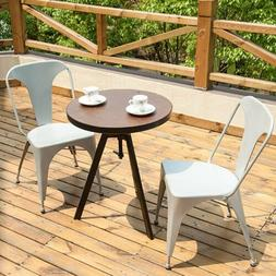 Set of 2 Metal Indoor-Outdoor Chairs Distressed Kitchen Dini