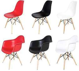 Set of 2 Eiffel Molded Plastic Side Dining Chairs, Eames DSW