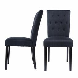 Set of 2 Fabric Dining Chair Armless Chair Home Kitchen Livi