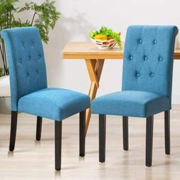 Set Of 2 Fabric Dining Chairs Button Tufted Room Chair Accen