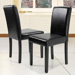 Set of 2 Leather Contemporary Elegant Design Dining Chairs H
