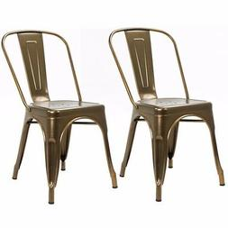 Set of 2 Metal Dining Chair Stackable Bistro Cafe Side Stool