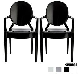 Set Of 2 Mid Century Modern Dining Accent Plastic Chair Stac