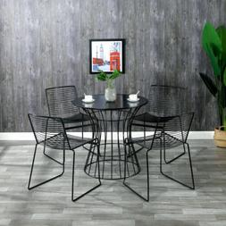 Set of 2 Modern Iron Dining Chair Iron Wire Chair Personalit