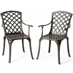 Set of 2 Patio Bistro Chairs Cast Aluminum Arm Dining Chairs
