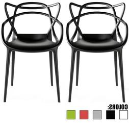 Set of 2 Stackable Modern Plastic Chairs For Garden Patio Ou