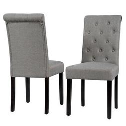 Set of 2 Tufted Dining Chairs Parsons Upholstered Linen Fabr