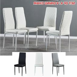 Set of 4 6 Modern PU Leather Dining Chair Armless Side Chair