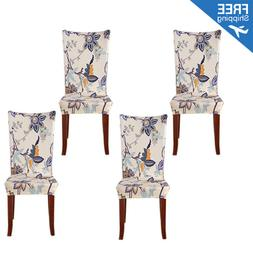 Set of 4 Beige Stretch Dining Room Chair Covers Removable Wa