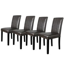 4 Dining Room Chairs Formal Parson Chairs With Leather Accen