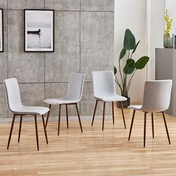 Set of 4 Gray Dining Chairs Fabric Seat Metal Legs Side Chai