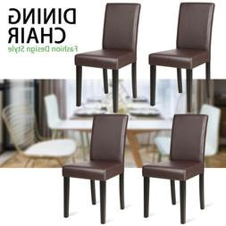 Set of 4 Kitchen Dining Chairs Leather Cushion Side Chairs T