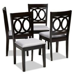 Set of 4 Baxton Studio Lenoir Gray Fabric Brown Wood Dining