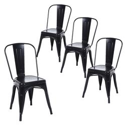 Set of 4 Matte Black Metal Dining Chairs, Indoor/Outdoor and