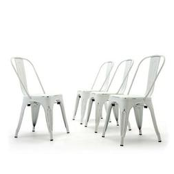 Set of  Metal Bistro Cafe Modern Style Dining Chairs Stackab