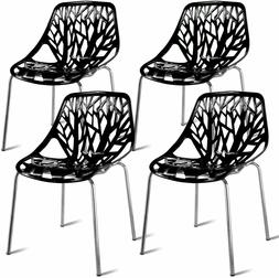 Set of 4 Modern Dining Chairs w/Plastic Feet Pads Stackable