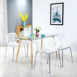 Set of 4 PCS Modern Style Lounge Dining Chair White Color Li