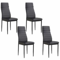 Modern Set of 4 Stunning Dining Side Chairs Leather Dining R