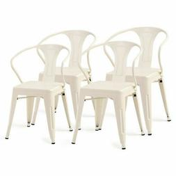 Set of 4 Tolix Style Metal Chairs Arm Chair Kitchen Dining S