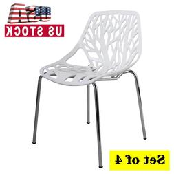 Set of 4 White Side Dining Chair Birds Nest Chairs for Kitch