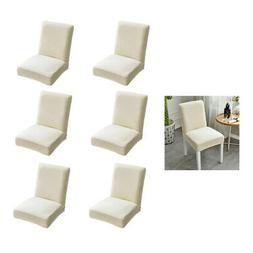 Set of 6 Beige Stretchable Low Dining Chair Seat Cushion Cov