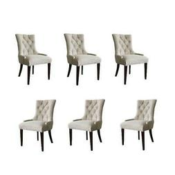 Set of 6 Beige Tufted Dining Chair