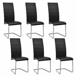 vidaXL Set of 6 Cantilever Black Artificial Leather Dining C