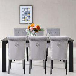 Set of 6 Elegant Fabric Dining Chairs Tufted Upholstered Vel