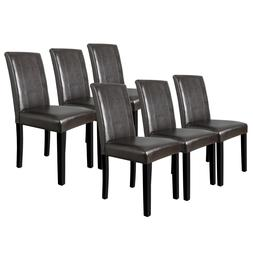 Set of 6 Urban Leather Dining Parson Chair Kitchen Formal El