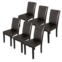 Set of 6 Urban Leather Dining Parson Chairs With Solid Wood