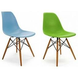 Set of Two 8 Colors Choice Eiffel Side Chair Wood Dowel Base
