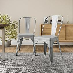 Belleze© Set of  Vintage Style Dining Chairs Steel High
