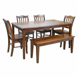 shaker 6 piece dining set with bench