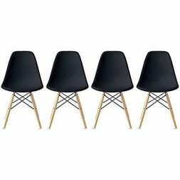 Side Chair with Eiffel Design Natural Wood Legs Dining Chair