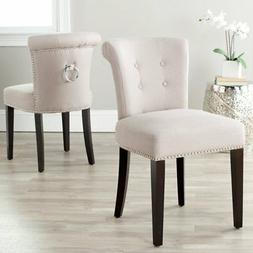 Safavieh Sinclair Nickle Nailhead Ring Dining Chair in Taupe