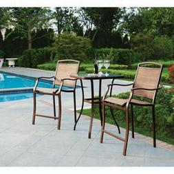 Small Outdoor Bistro Set High Top Table Chairs Cushions Pati