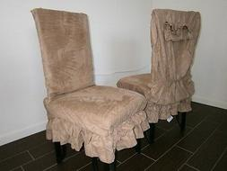 """Soft Micro Suede Shortly Dining Chair Covers fit 39""""- 42""""H b"""