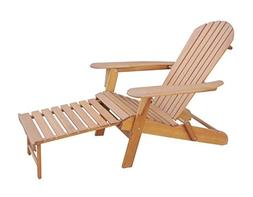100% Solid Eucalyptus Wood Foldable Adirondack Chair with Pu