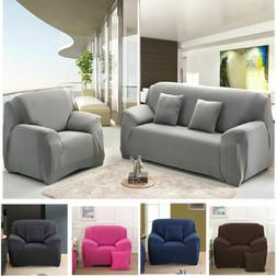 Solid Stretch Chair Sofa Cover 1 2 3 4 Seater Couch Elastic