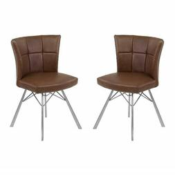 Armen Living Spago Dining Chair, Coffee Faux Leather/Steel,