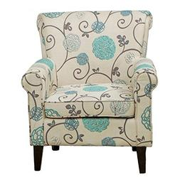 Teal Accent Chair Tufted Blue Wadham Floral Uhpolstered Club