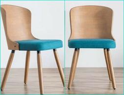 Teal Peacock Blue Dining Chairs Set of Upholstered Bamboo Mi
