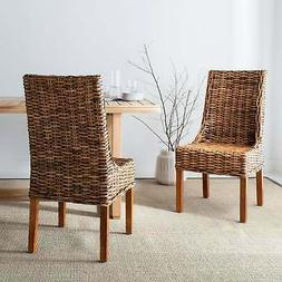 St Thomas Indoor Wicker Brown Sloping Arm Chairs