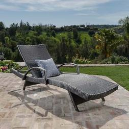Toscana Outdoor Wicker Armed Chaise Lounge Chair by