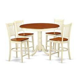 East West Furniture TRGR5-WHI-W 5 Piece High Table and 4 Kit